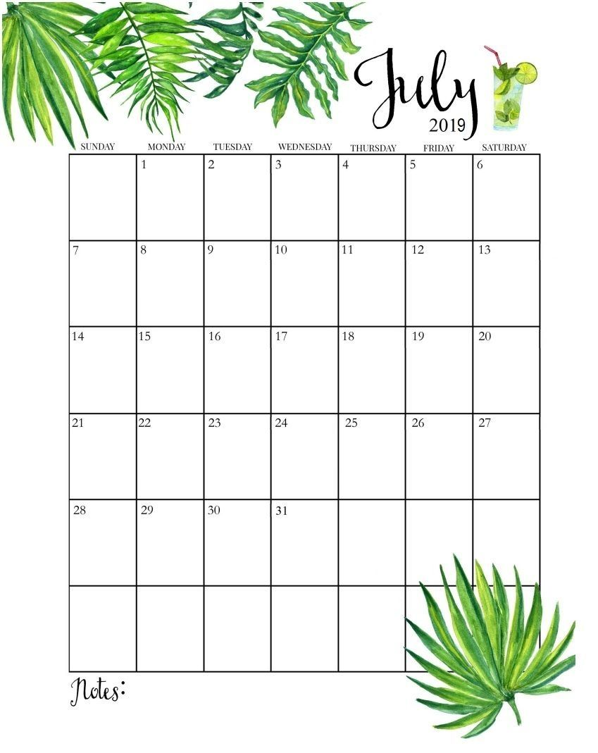 July 2019 Calendar July Calendar Calendar Printables Monthly