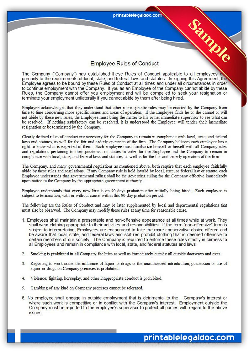 Free Printable Employee Rules Of Conduct | Sample Printable Legal ...