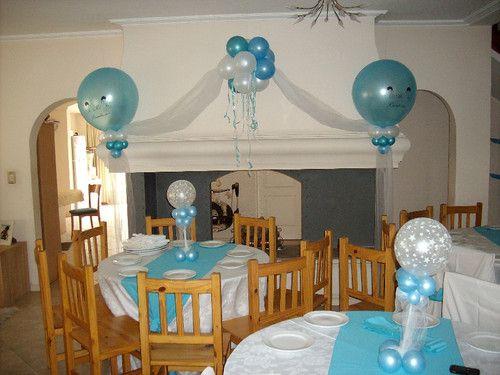Decoracion con globos para bautizo de ni o nocturnar for Decoracion para bautizo