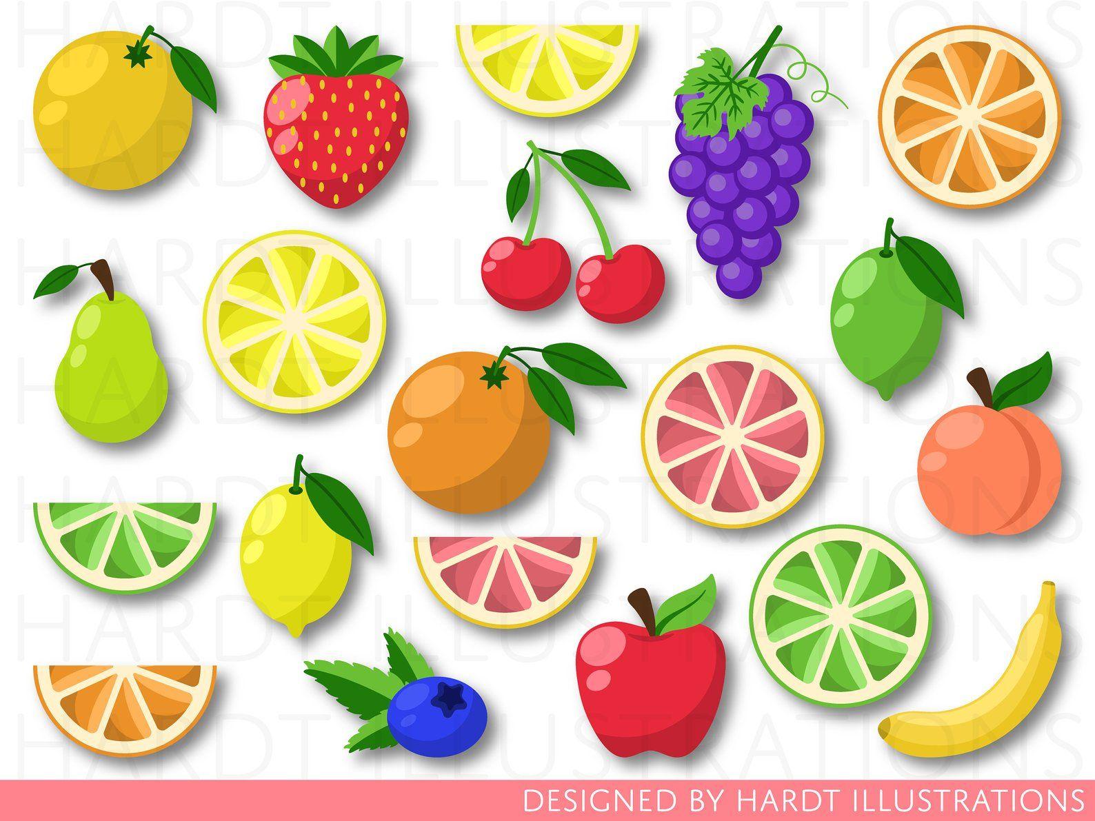 Fruit Clipart Fruits Clip Art Tutti Frutti Citrus Clipart Etsy Lebensmittel Clipart Sommer Party Einladungen Kirschen