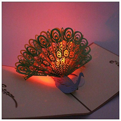 New 3d Pop Up Greeting Card Axiba Hand Made Light Up Mus
