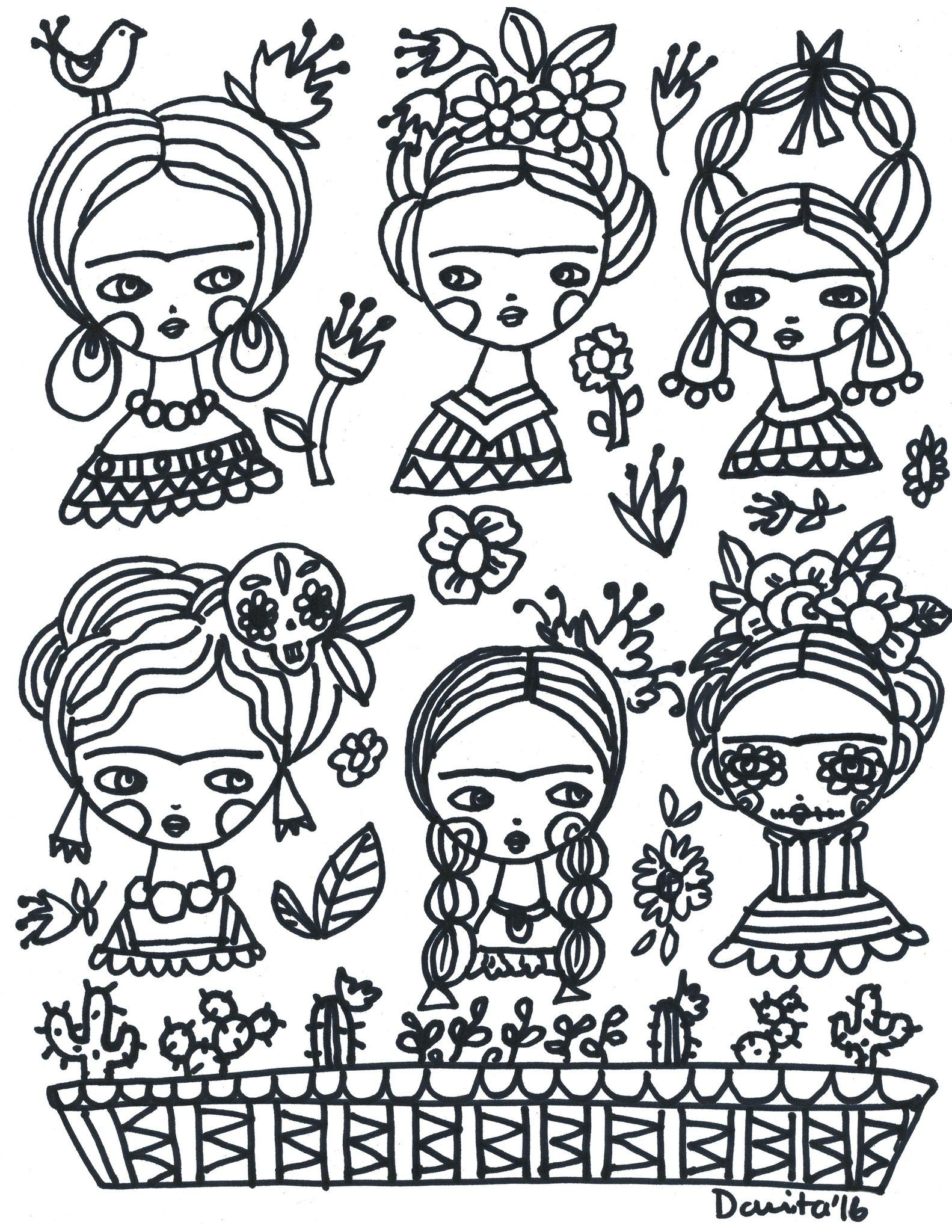 Online coloring book creator - A Frida Kahlo Inspired Coloring Book Page Created By International Mixed Media Artist And Doll