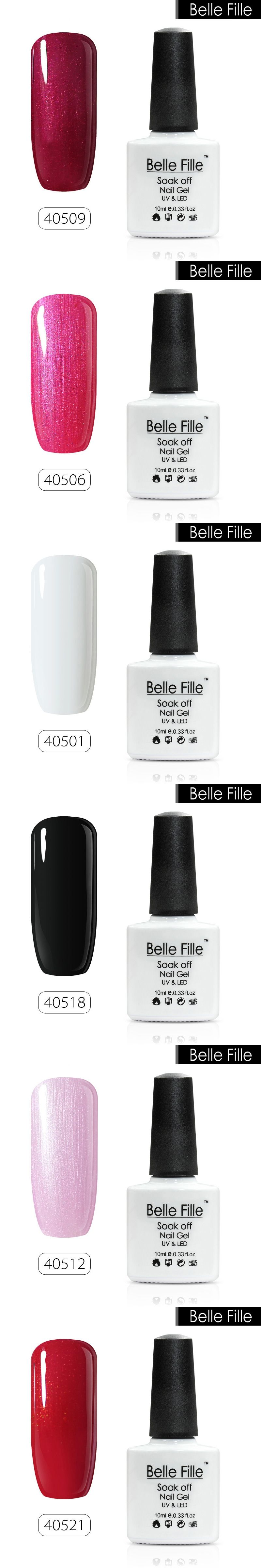 BELLE FELLE 10ml Color UV Gel Nail Polish clear coat salon nail gel ...
