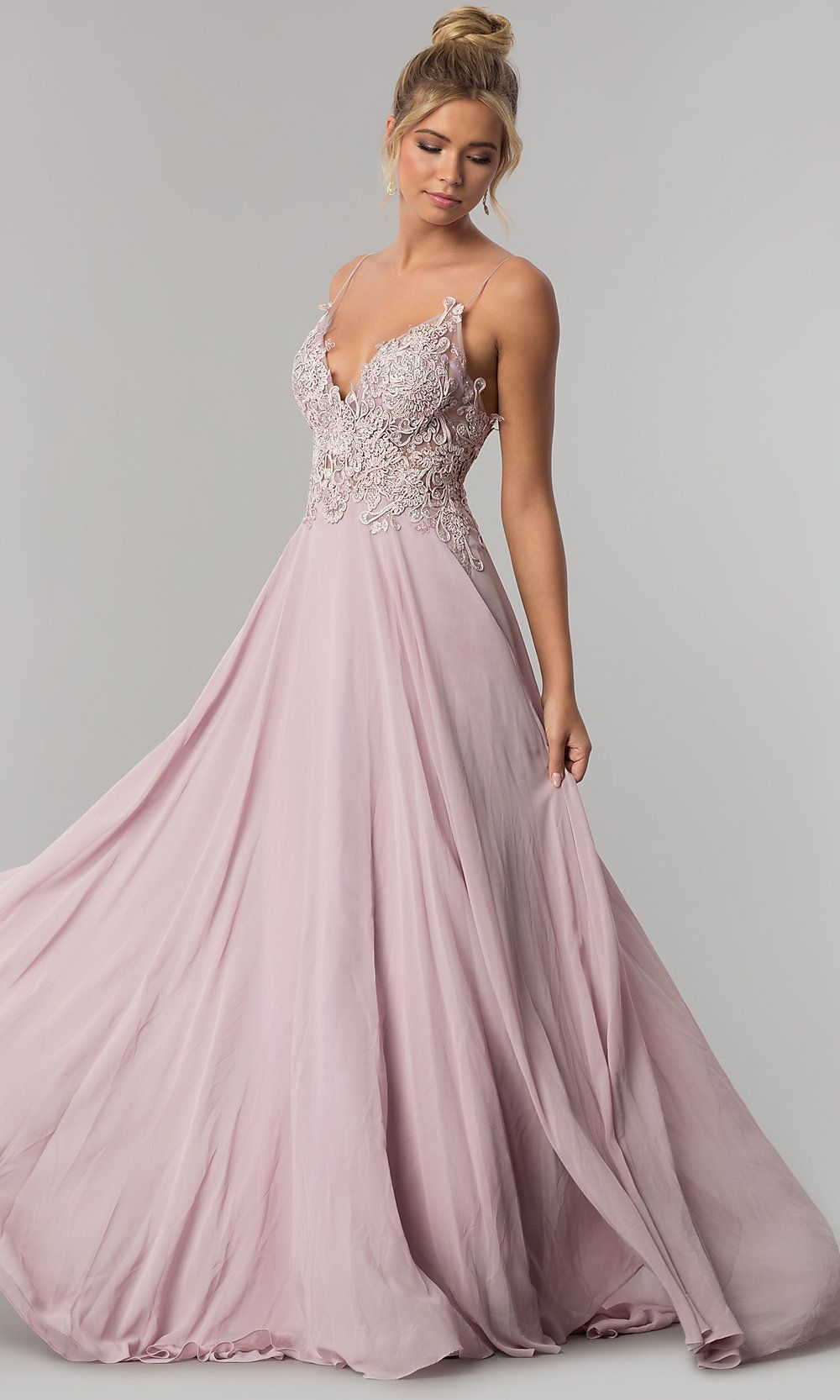 Long Chiffon Prom Dress with Sheer Sides - PromGirl