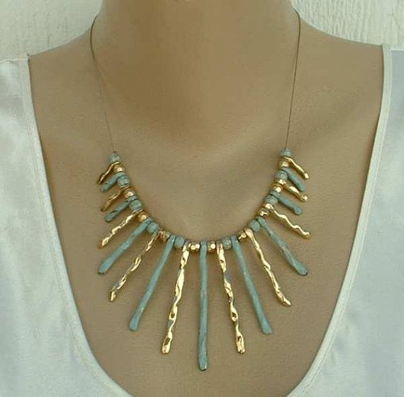 Egyptian Cleopatra Style Blue Gold Enamel by VintageJewelryStore, $29.00