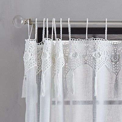 95 X50 Suri Macrame Tab Curtain Panel White Chf Industries
