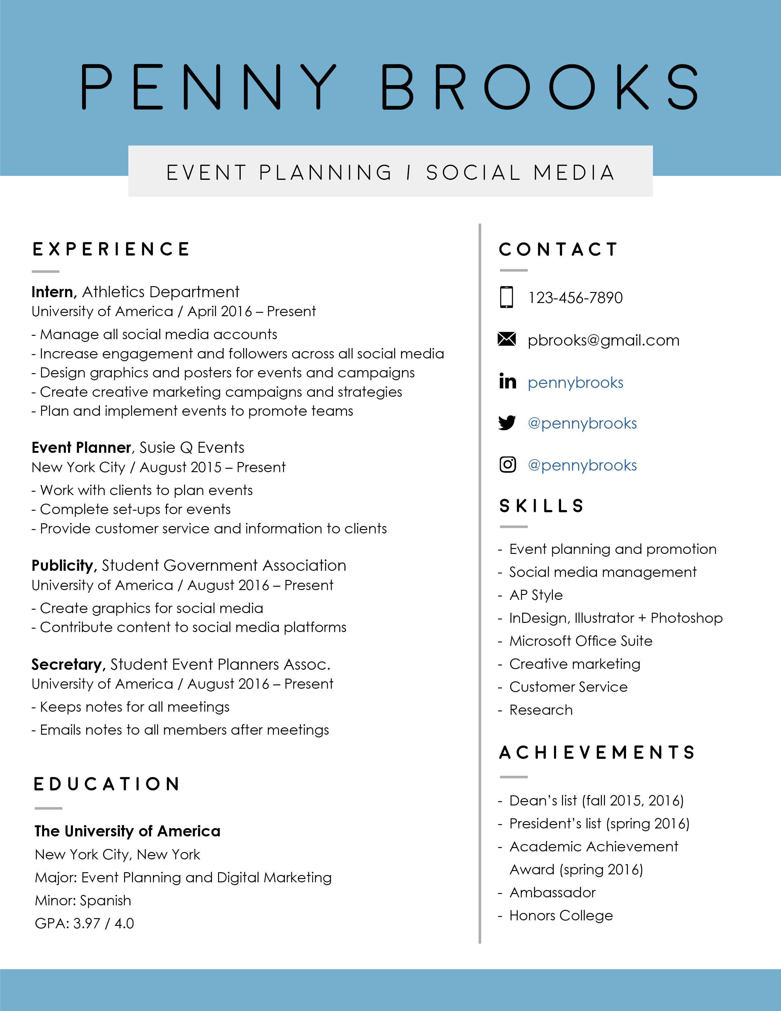 Resume template event planning resume graphic design