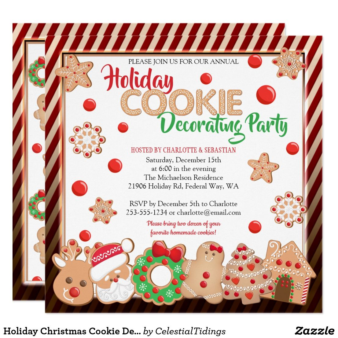 Holiday Christmas Cookie Decorating Party Invitation | Christmas ...