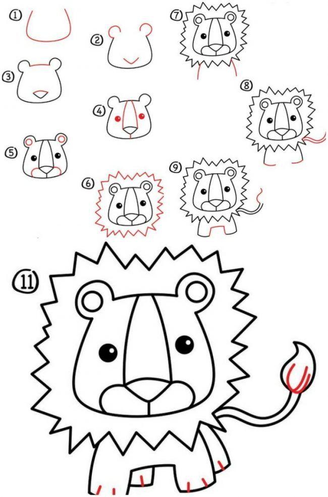 Zeichnen lernen loewe niedlich maehne kopf schwanz for Pinterest malen