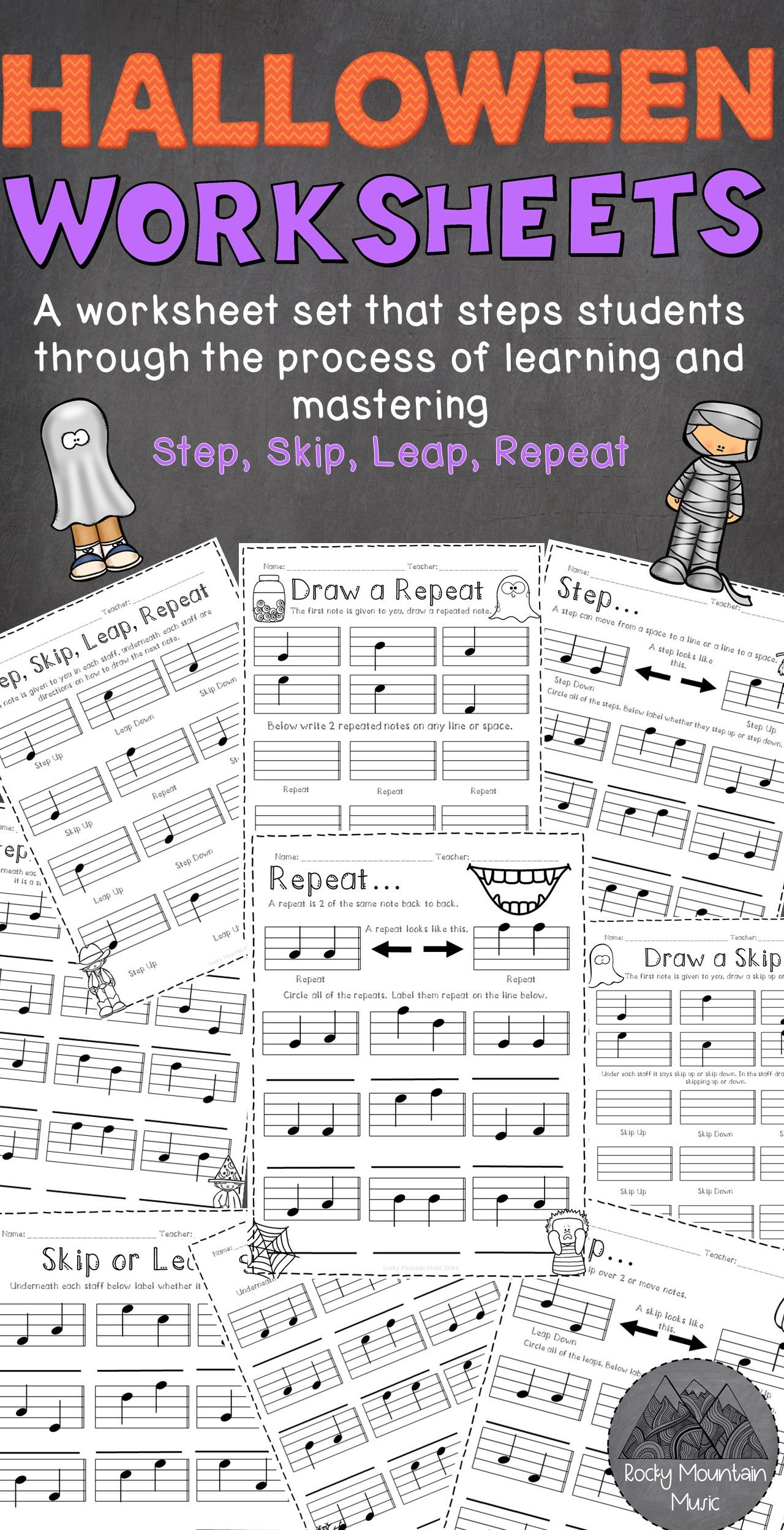 Halloween Themed Step Skip Leap Repeat Worksheets In