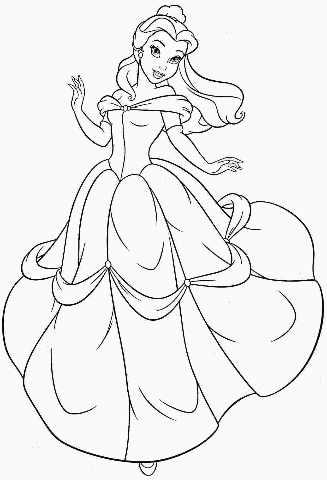 Coloring Pages Of Princess Belle With Images Disney Princess