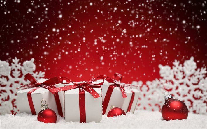 Red Christmas Background.Download Wallpapers Christmas New Year Red Balls Snow Red