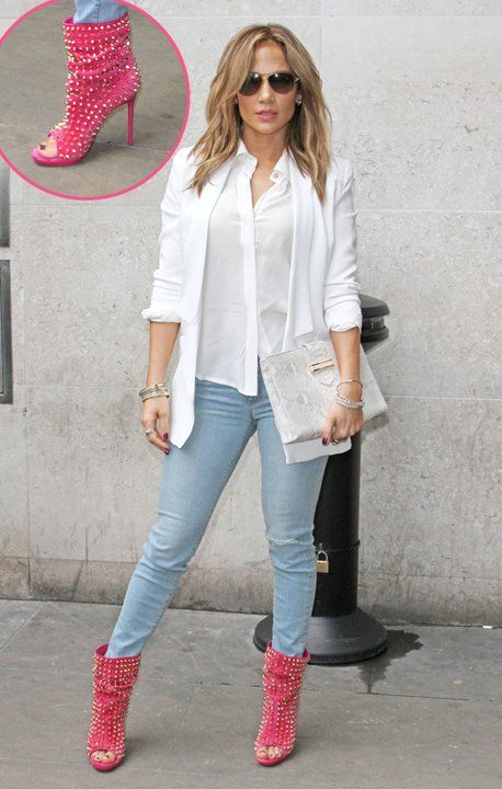 82e226449077 Jennifer Lopez flaunts her studded red boots as she promotes her new single   Live It Up  at Capital Radio and BBC Radio 1 in London