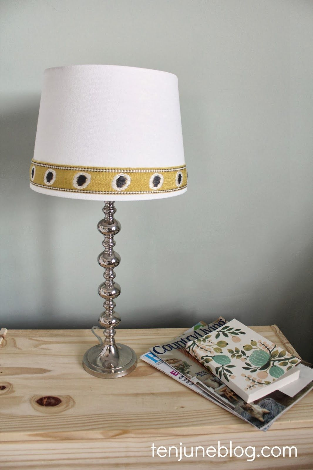 DIY Lampshade Makeover With Fabric Trim Via Ten June