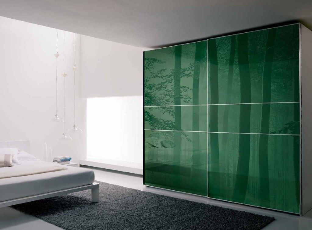 Furniture: Modern Wardrobes Armoire With Slidding Doors Also Green Sticker  In Front Of Grey Fur