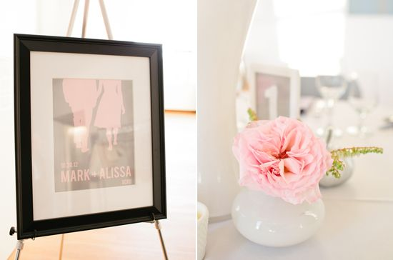 pale pink floral and poster accents  Screen printed poster
