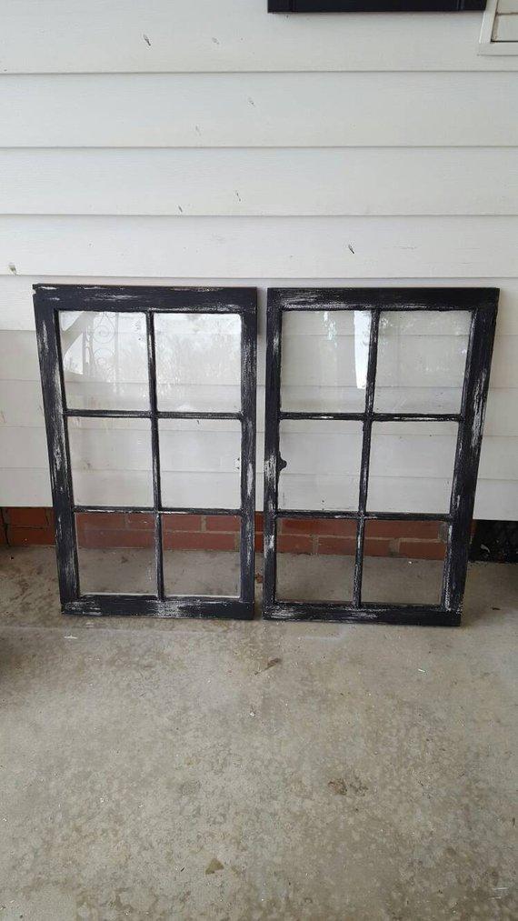 VINTAGE SASH ANTIQUE WOOD WINDOW UNIQUE FRAME PINTEREST 6 PANE 32x19 DISTRESSED