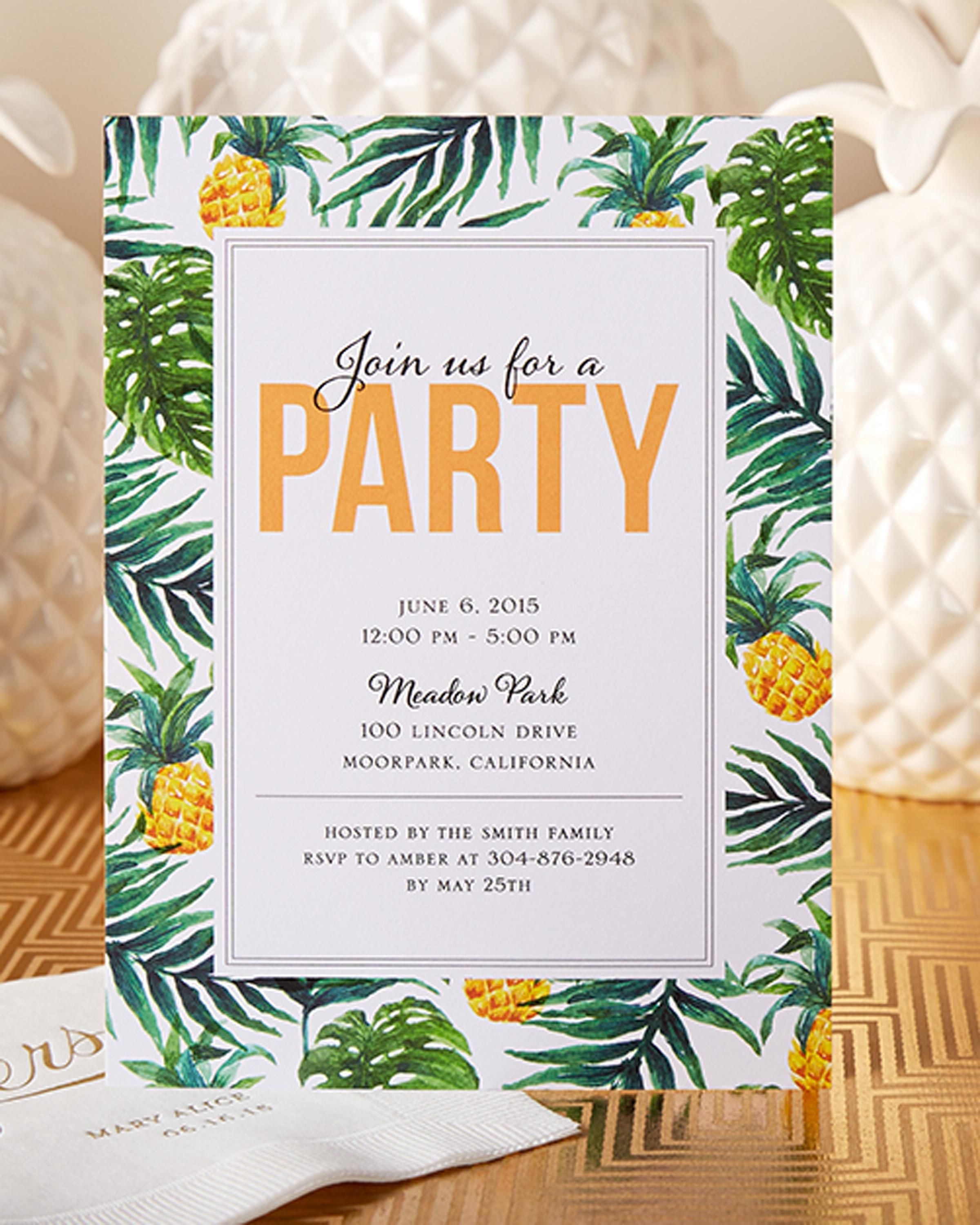 Have Your Friends Join You For A Tropical Party This Summer With Unique Personalized Invitation From Tiny Prints