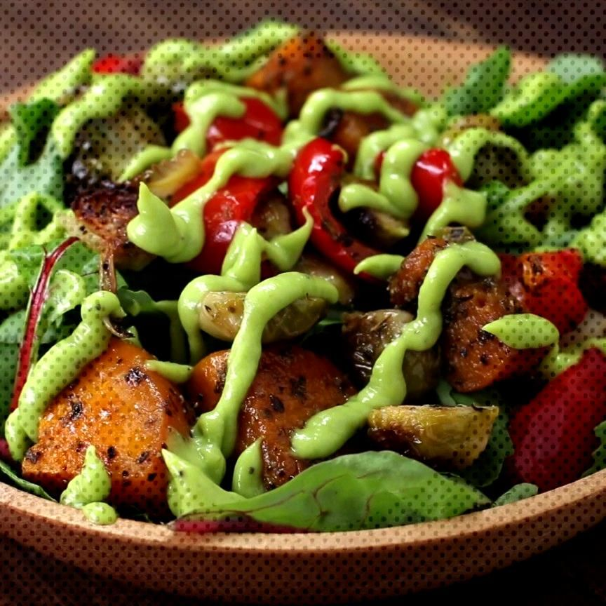 Roasted Veggie Salad With Avocado Dressing -