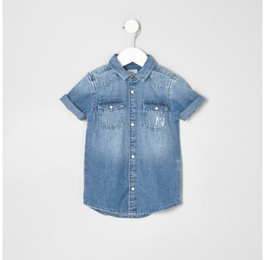 87b808b29ba Checkout this Mini boys blue denim 'attitude' shirt from River Island