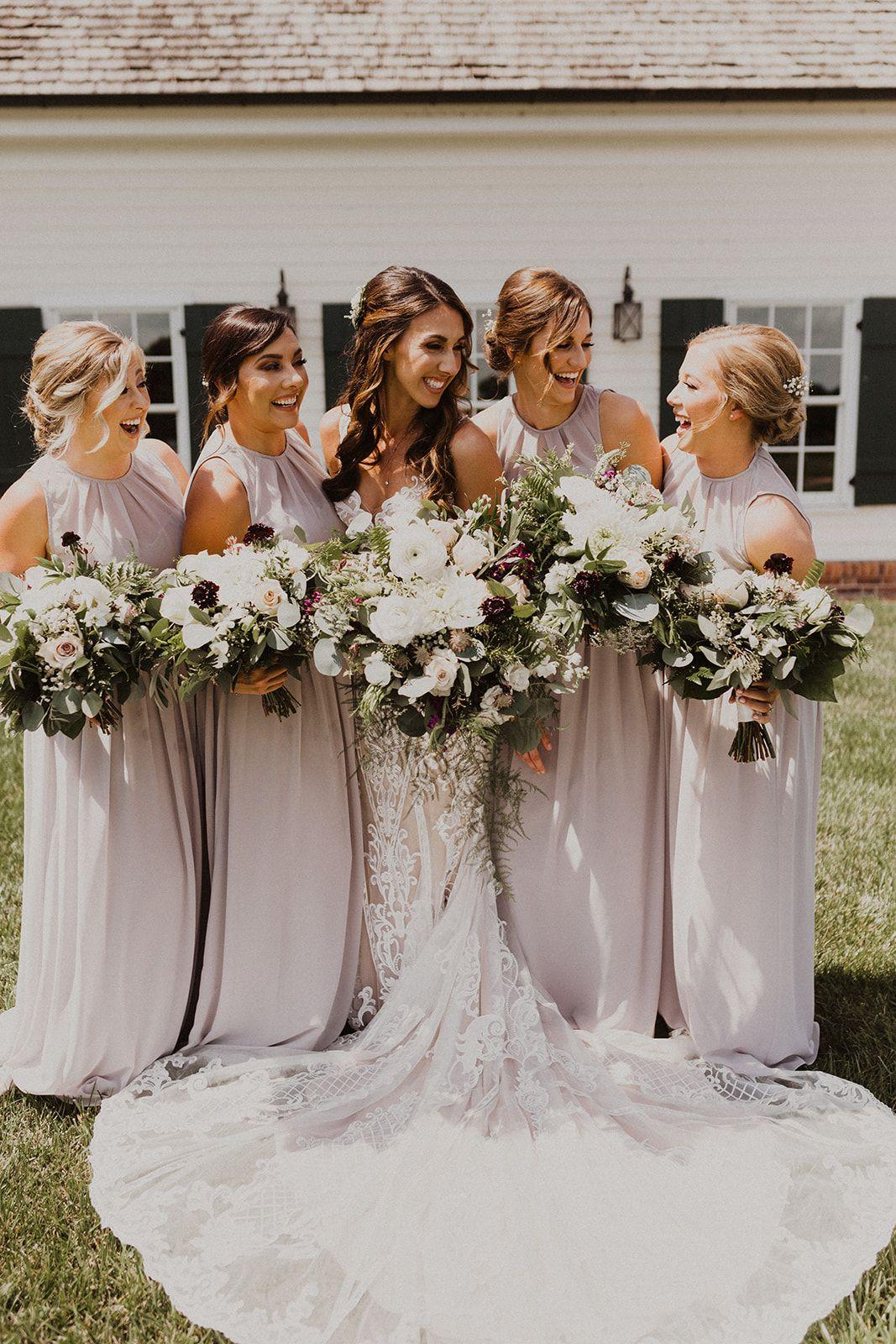 Neutral Bridesmaids Wedding Elegant