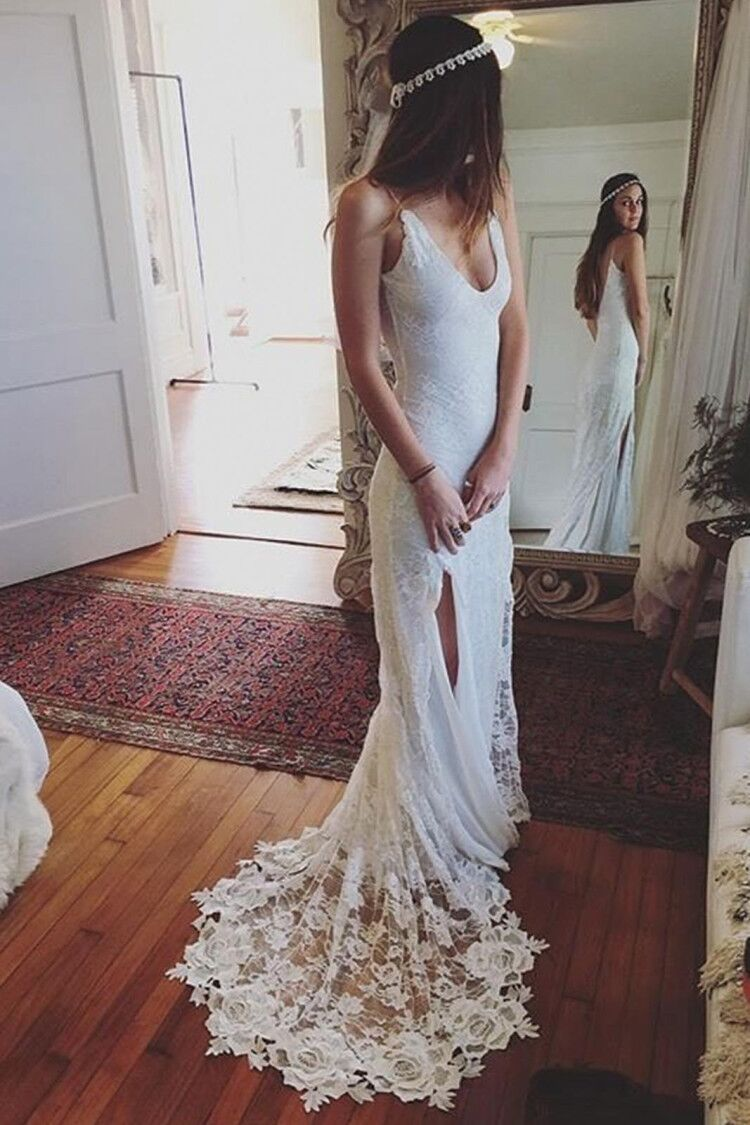 Charming mermaid v neck open back white lace beach wedding dress