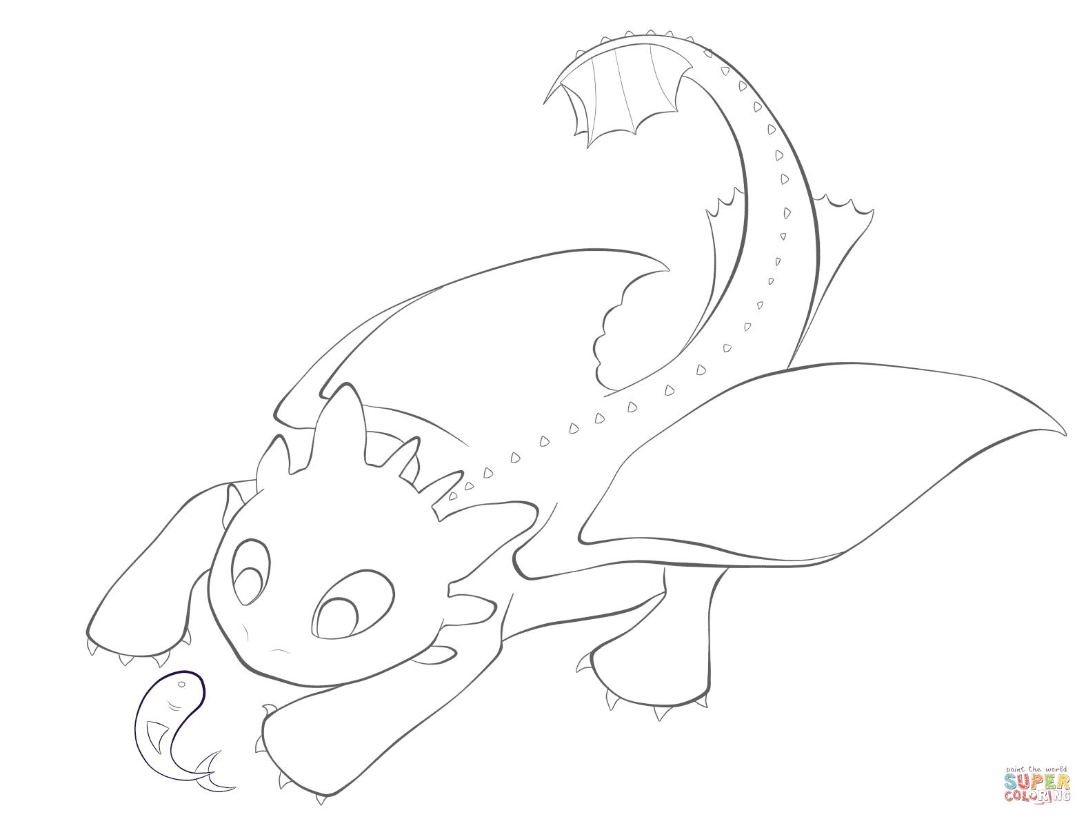 Coloriage Krokmou avec un poisson
