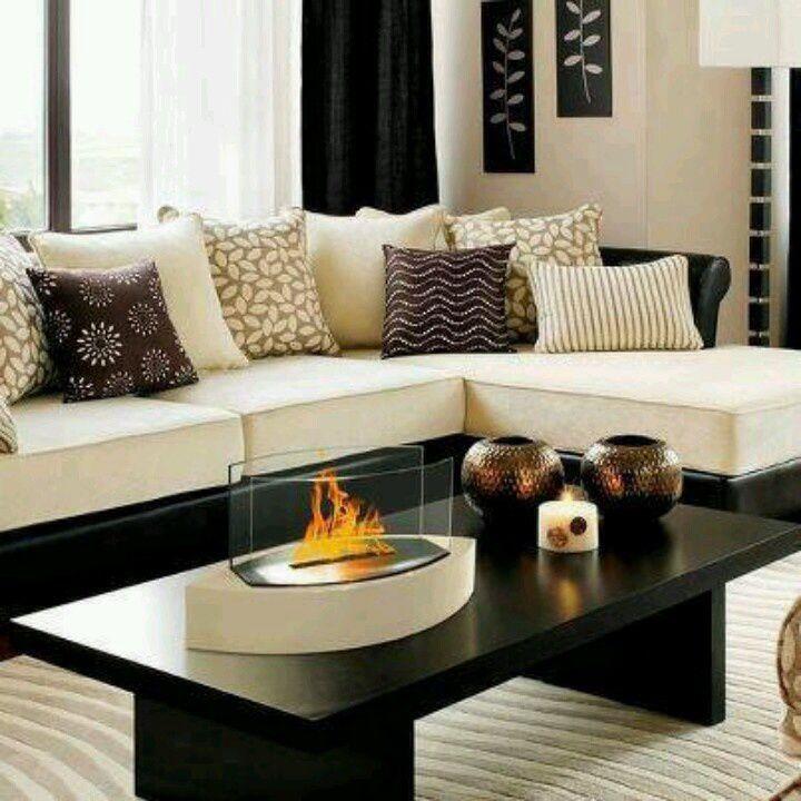 TAn, black, and white living room