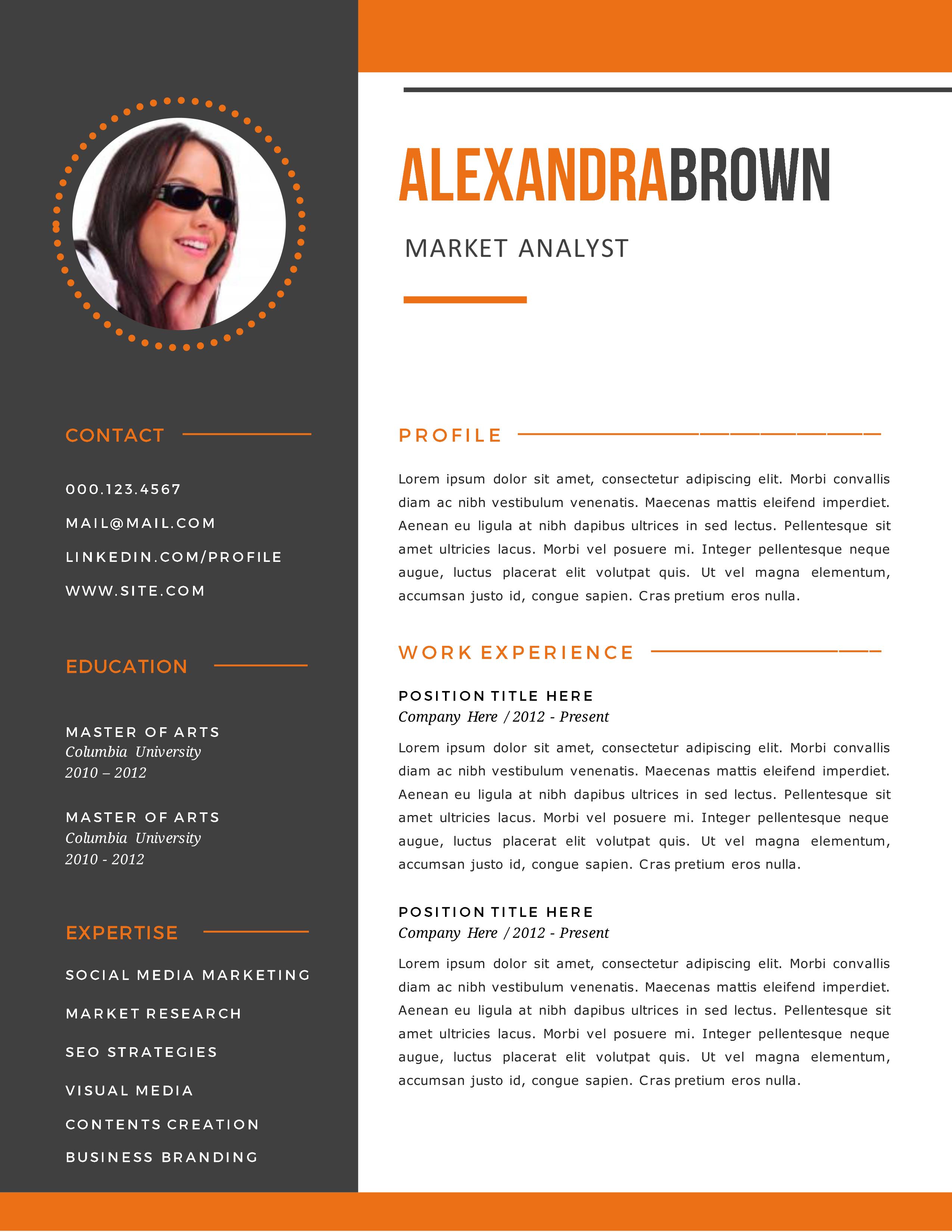 Burnt Orange Resume Examples,,sample resume templates