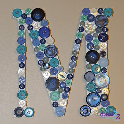 Button Monogramed Letter for a Monogramed wall, Monogramed M