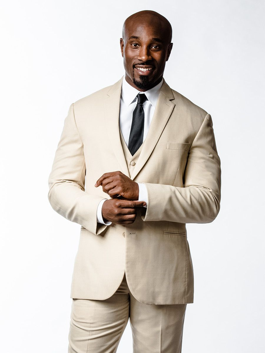 Khaki three-piece suit. Cool style for an #outdoor #wedding. The ...