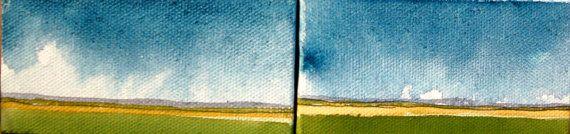 Original Watercolor Miniature Landscape  Rainy Day by Rilarin, $20.00
