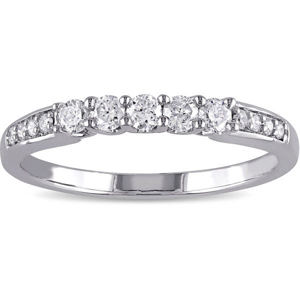 Miadora 10k White Gold 1/3ct TDW Diamond Anniversary Band ($450) ❤ liked on Polyvore featuring jewelry, rings, white, wedding band rings, white gold diamond ring, diamond rings, wide band rings and round wedding rings