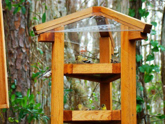 Large Bird Feeders Fly Through Style Cedar Wood Bird Feeders W Multiple Bird Feeding Levels Dispen Wood Bird Feeder Wooden Bird Feeders Large Bird Feeders