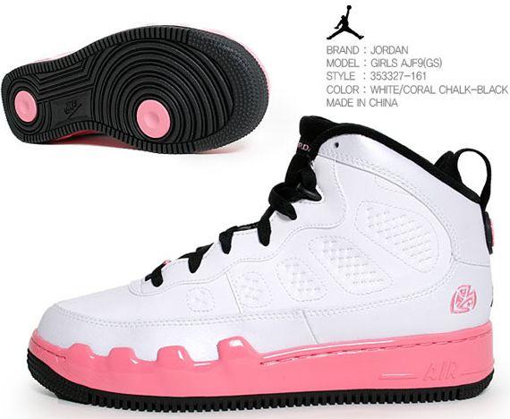 Jordans Shoe For Girls Only | Coral Pink Fusion Jordans | AJF9s | 353327-161