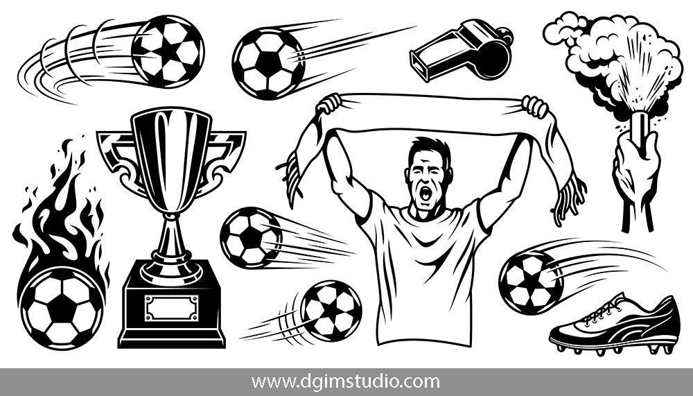 Soccer Elements Set Vector Illustration Design Your Own Poster Soccer Theme