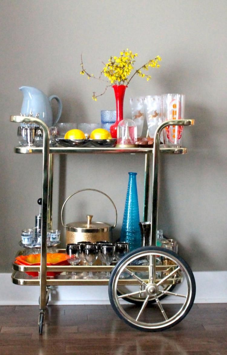 58+ Exciting Simple Apartment Bar Cart Ideas On a Budget ...