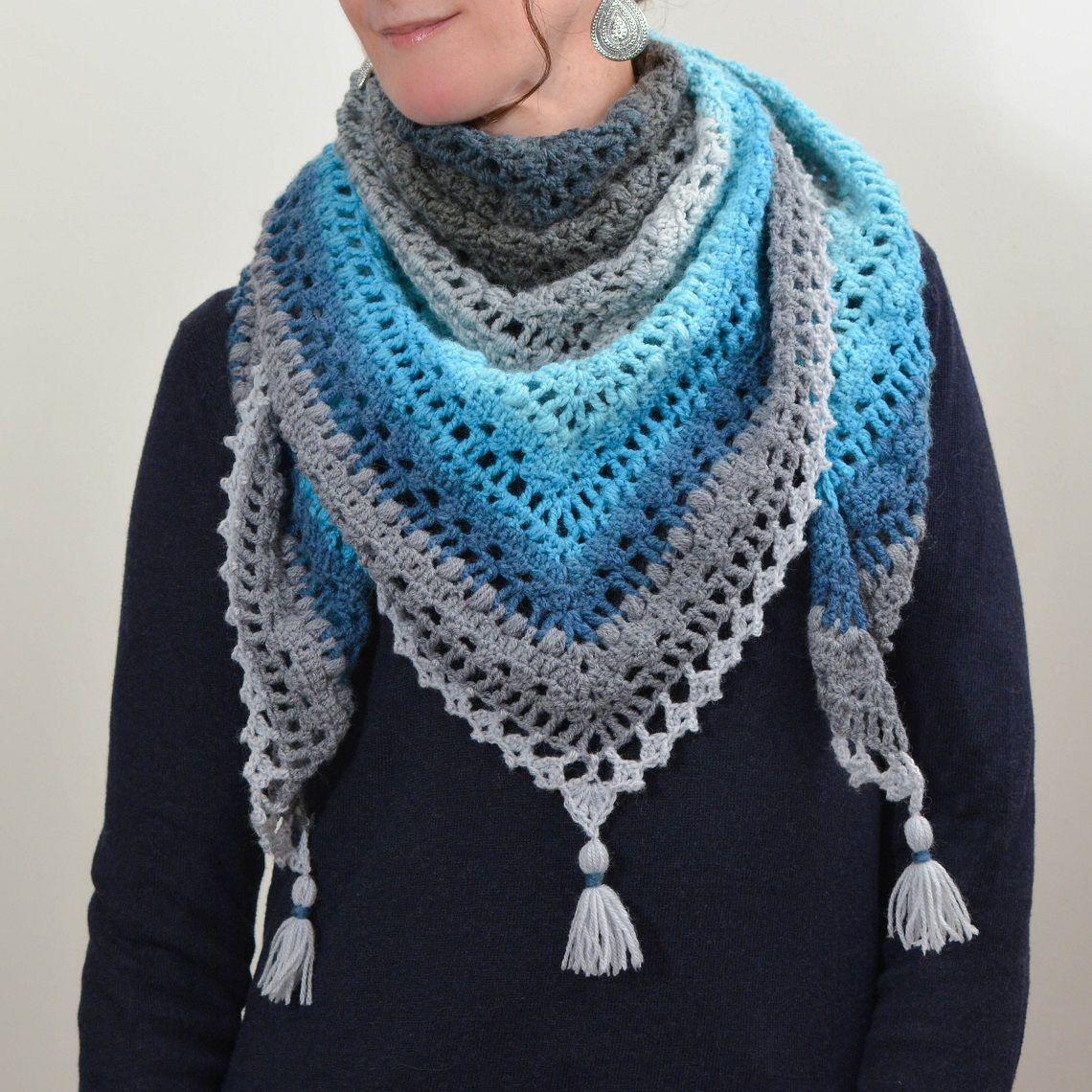 Chèche au crochet   Écharpe crochet facile, Modèles de châles au crochet et Châle en crochet facile