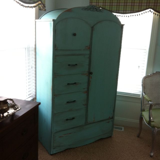 for sale 575 gorgeous turquoise antique wardrobe armoire monster high house antique wardrobe
