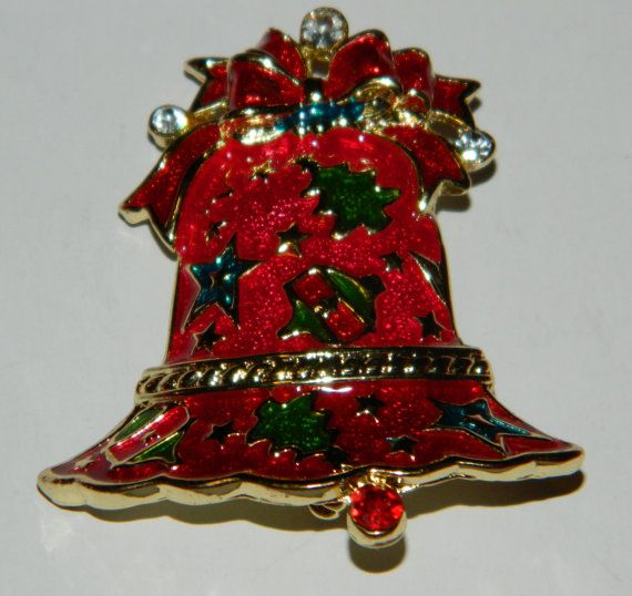 A Festive Green and Red Goldtone Christmas Bell by ZiggyzAttic