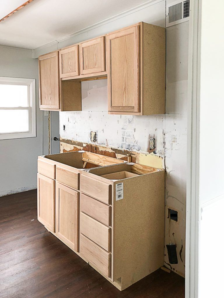 Unfinished Wood Cabinets In The Flip House Kitchen Unfinished Kitchen Cabinets Kitchen Remodel Small Unfinished Cabinets