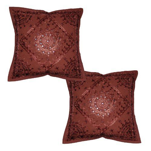 Linens India Direct Home Decor Cotton Cushion Cover Set Embellished with Embroidery & Mirror Work, 16 X 16 Inches, Set of 2 Pcs by Linens India Direct, http://www.amazon.com/dp/B007ZZVPCA/ref=cm_sw_r_pi_dp_llRuqb1S1TE3P