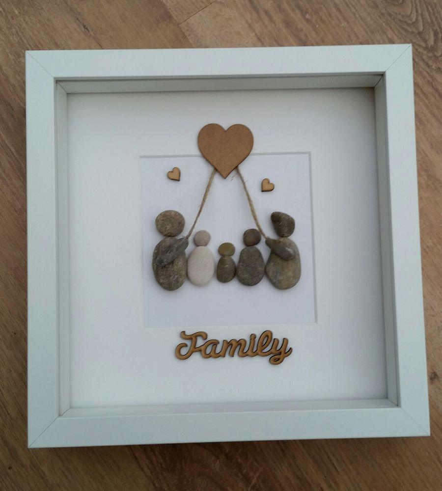 Beautiful handmade beach pebble art driftwood family box frame ...