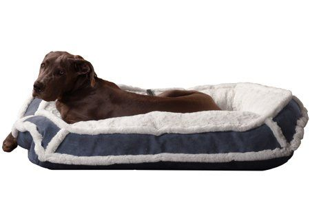 K9 Ballistics Lux Bolster Rectangle Bed Cream Fur Blue Gray Micro Large 34 X 40 X 5 You Can Get More Details By Clicking Dog Bed Ballistics Bolsters