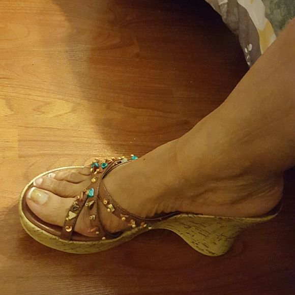 Ladies brown Wedge sandal worn once Brown ladies Wedge sandal with colored beads will look really cute with jeans, Capris, sundresses or shorts COOL WAVES Shoes Sandals