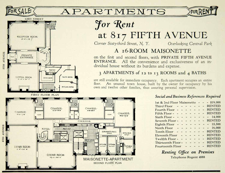 817 fifth avenue 39 maisonette 39 v a reece bivens for Maisonette plans