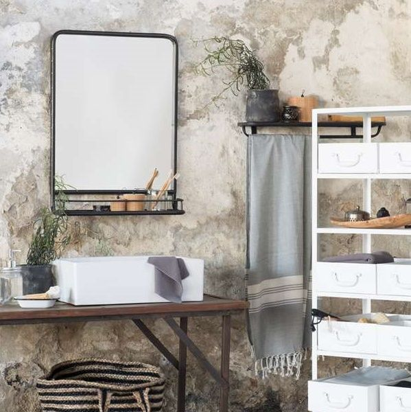 spiegel met plank zwart metaal ib laursen ib laursen pinterest toilet bathroom. Black Bedroom Furniture Sets. Home Design Ideas
