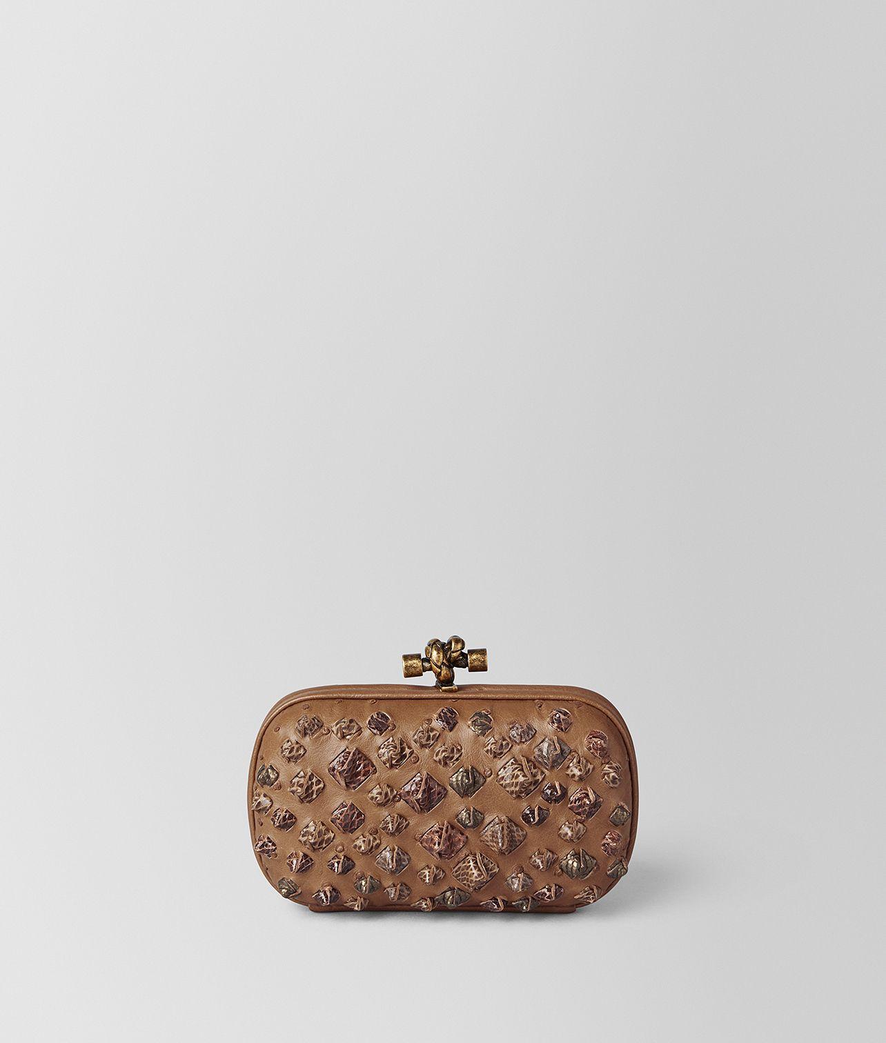 Shop Bottega Veneta® Women s CAMEL KOMODO STRUZZO KNOT. Discover more  details about the item 484bece435421