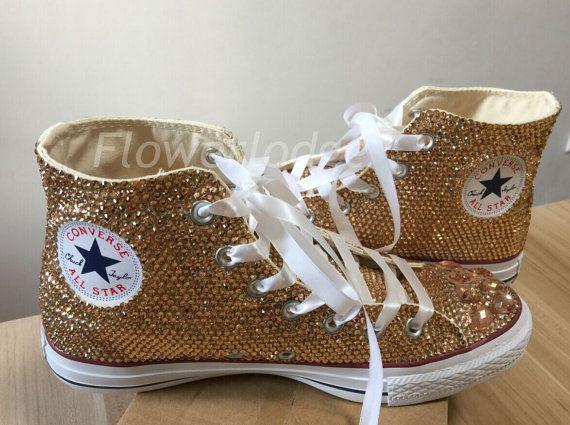 4d22387a095f light gold Rhinestone Converse glitter champagne Shoes high top style  Wedding Flower Girl Sneaker Sh
