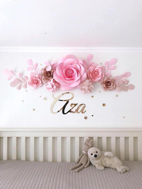 Conjunto de 7 flores de papel para beb ni a vivero pared for Decoracion paredes habitacion bebe nina